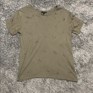Olive Green Retro T-shirt with holes